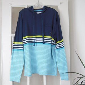 BillaBong Mens Sz L Blue Yello White Cotton Hoodie